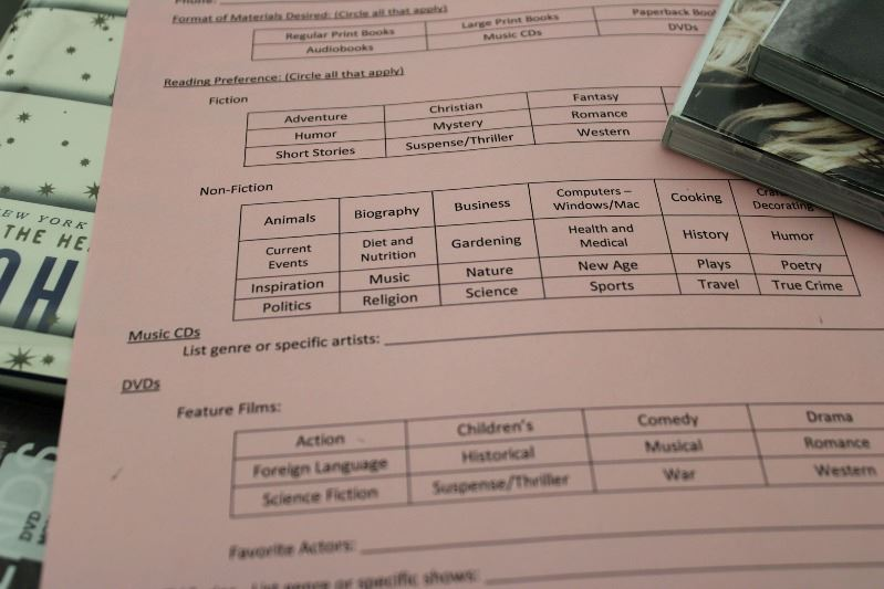A paper form listing genres of books, CDs and DVDs to be circled according to preference.