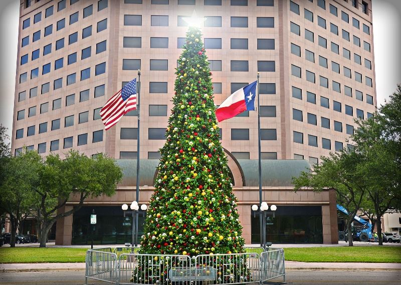 Decorated Christmas tree stands at edge of DeLeon Plaza across from One O'Connor building